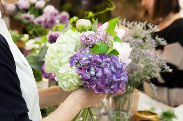 レコールブランの季節のお花でつくるフラワーレッスン
